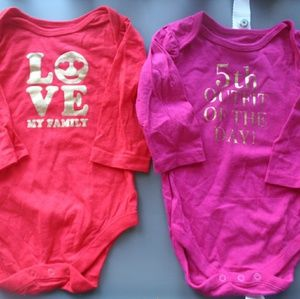 Bundle of graphic baby girl long sleeve bodysuits